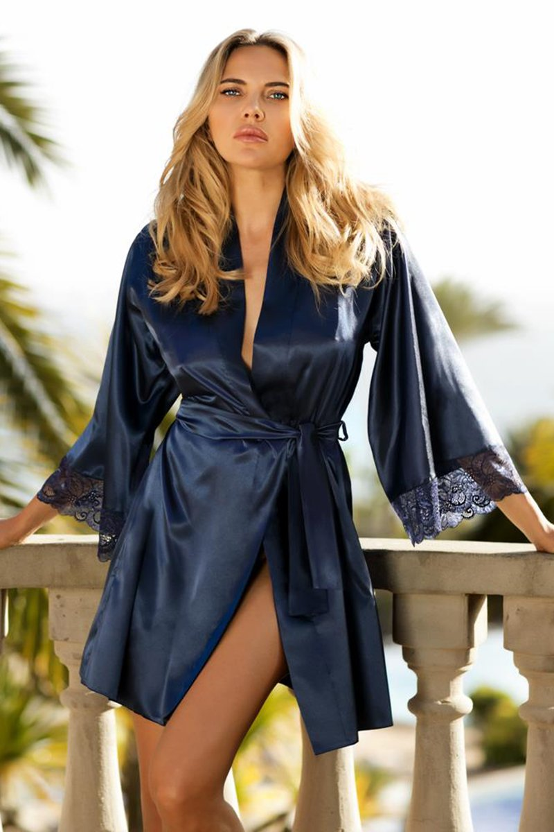 Belinda Beautiful Navy Blue Satin Dressing Gown - EVOLESCENT