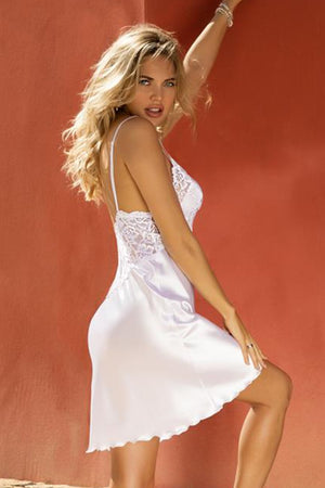 Wirydiana Perfect White Satin Nightshirt - EVOLESCENT