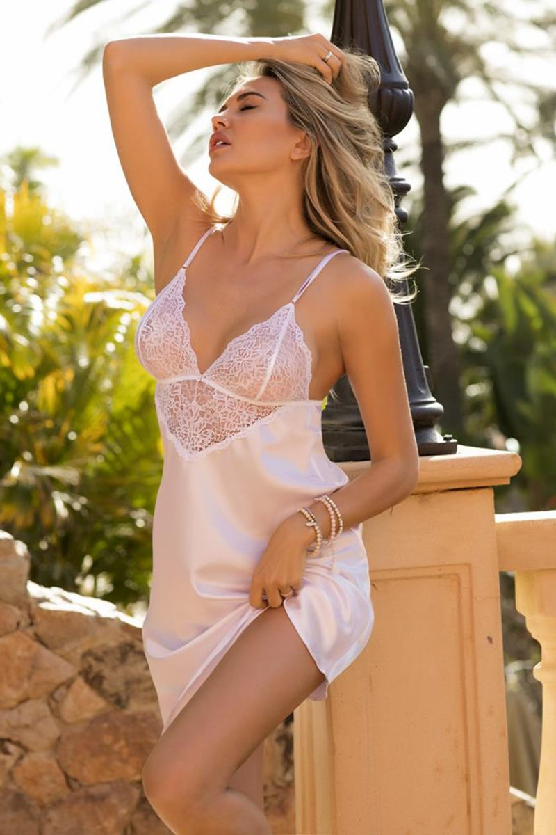 Clarisse Seductive White Nightdress - EVOLESCENT