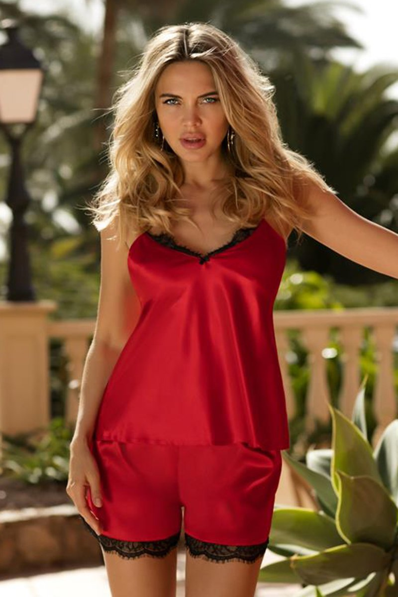 Doris Sexy Red Shirt And Shorts Set - EVOLESCENT