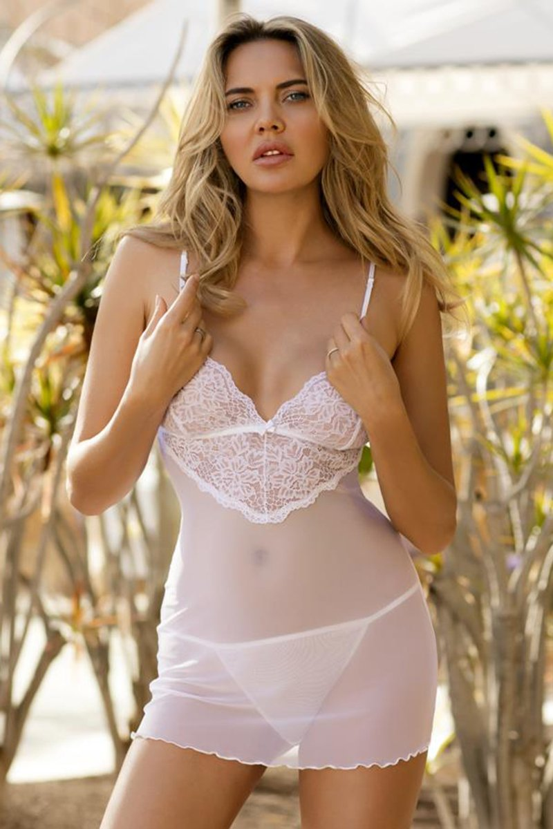 Constance Perfect Transparent White Shirt And Thongs Set - EVOLESCENT