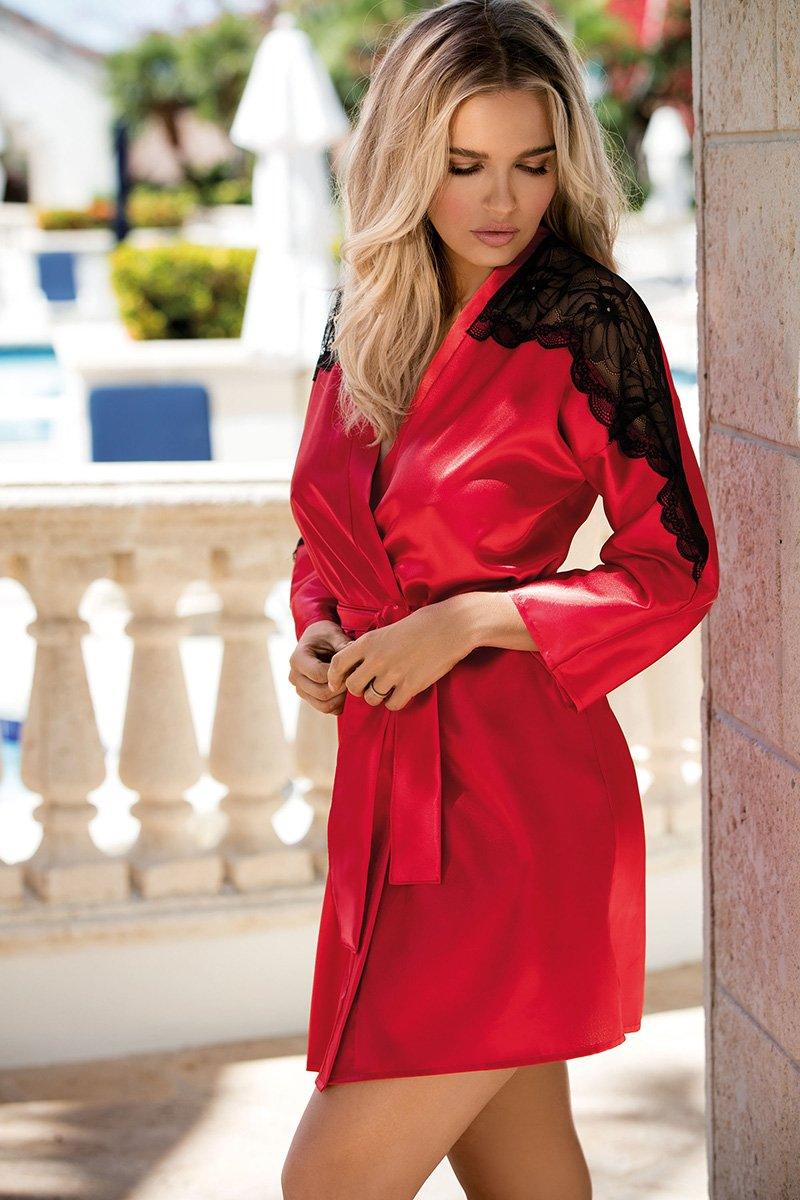 Marion Red Satin Bathrobe - EVOLESCENT