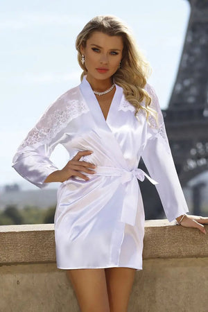 Alexandra Lovely Satin White Dressing Gown - EVOLESCENT