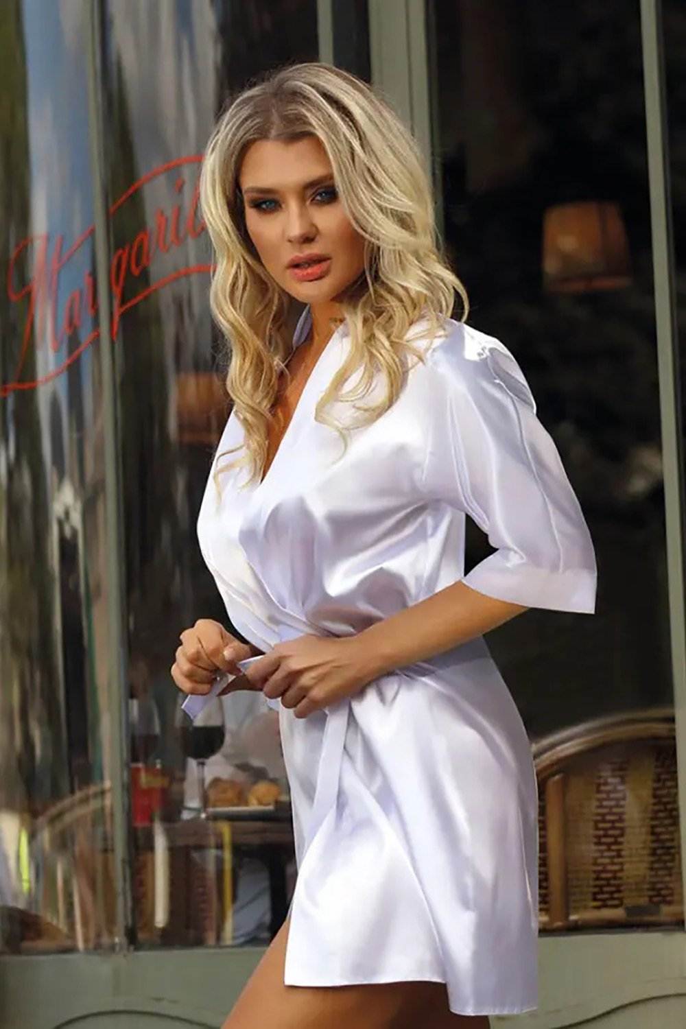 Scarlett Beautiful  Satin White Dressing Gown - EVOLESCENT
