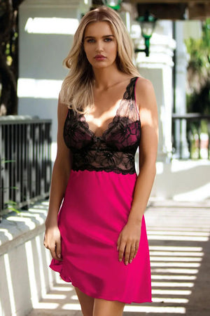 Sexy Pink Shirt With Black Lace - EVOLESCENT