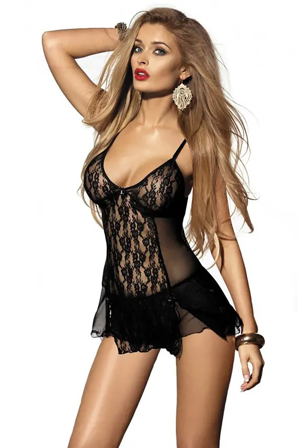 Gizela Black Lace Chemise And Panties - EVOLESCENT