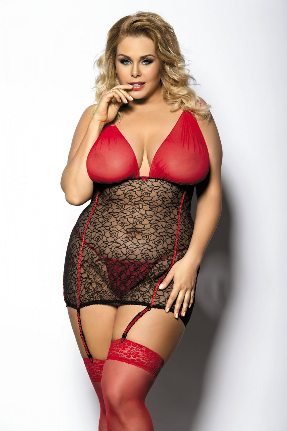 Yammy Sensual Black&Red Chemise And Thongs Set - EVOLESCENT