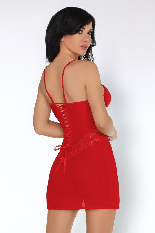 Lyndsay Beautiful Red Chemise And Thong Set - EVOLESCENT