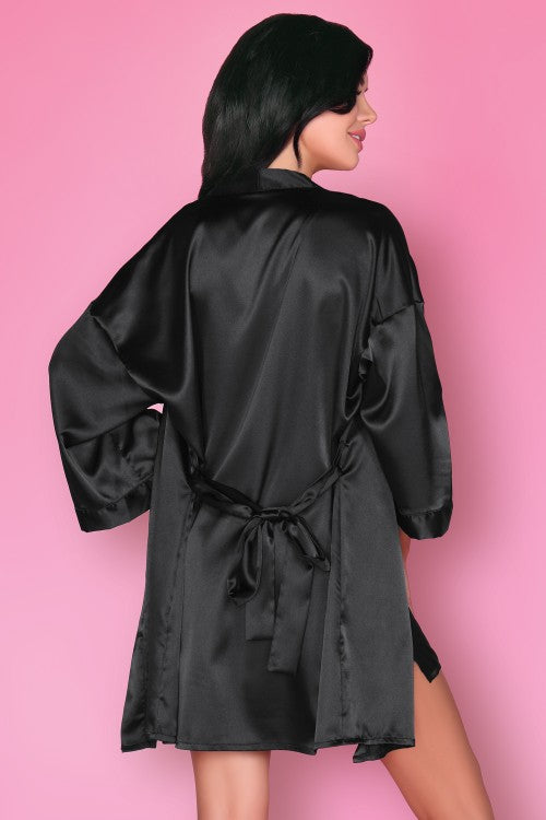 Dorattela Black Sexy Satin Dressing Gown - EVOLESCENT