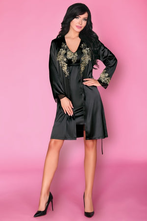 Natasha Black Satin Bathrobe - EVOLESCENT