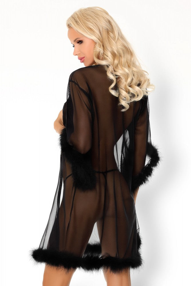 Emigdiani - Seductive Black Transparent Dressing Gown With Thongs - EVOLESCENT
