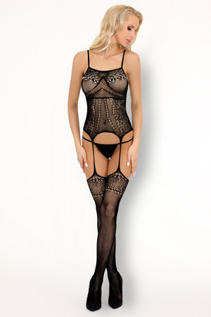 Asumpta Black Romantic Bodystocking - EVOLESCENT