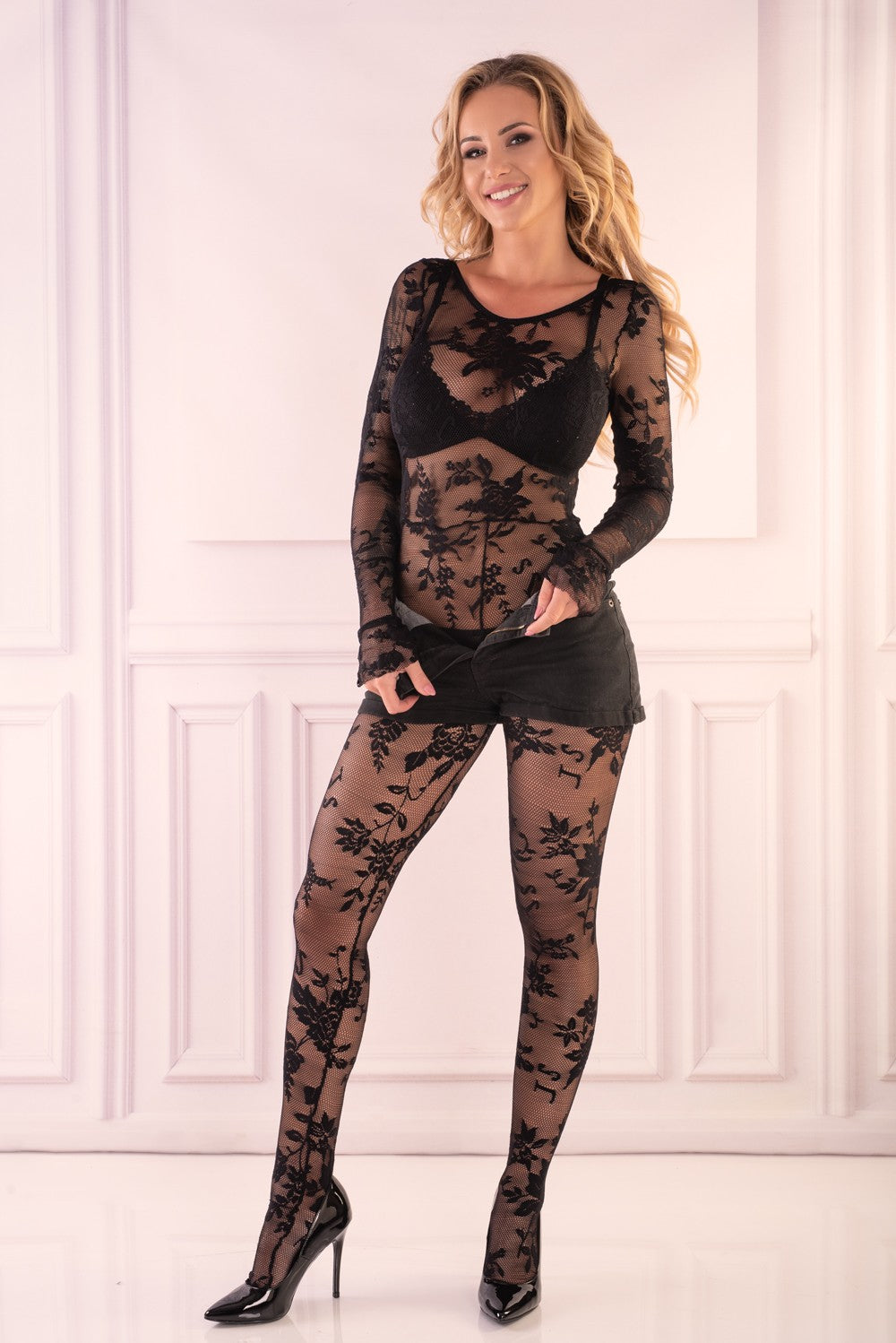 Manelis Black Sexy Bodystocking - EVOLESCENT