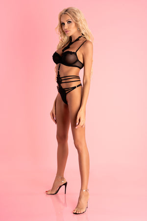 Adelienn Black Strappy Body With High Neck - EVOLESCENT