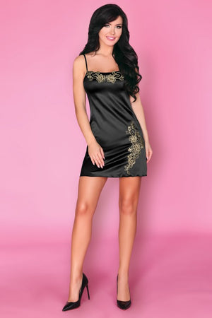 Praveena Stunning Black Satin Nightdress - EVOLESCENT