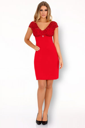 Crossina Delicate Sensual Red Chemise - EVOLESCENT