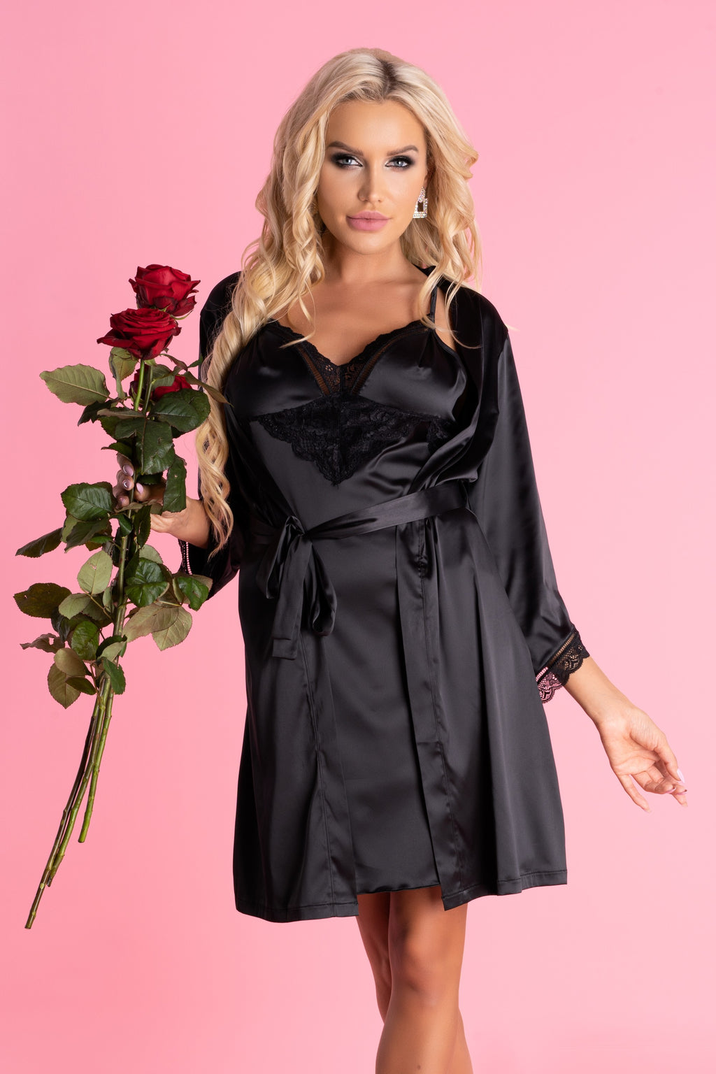 Ariladyen Satin Black Robe With Panties - EVOLESCENT