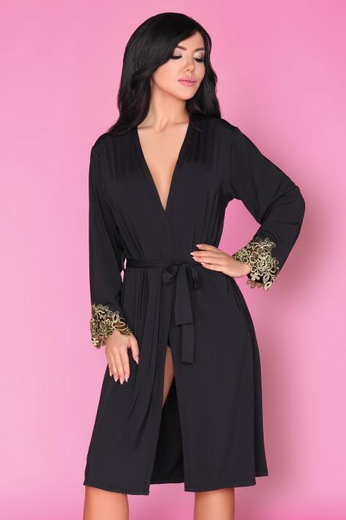 Astina Beautiful Black Dressing Gown With Gold Embroidery - EVOLESCENT