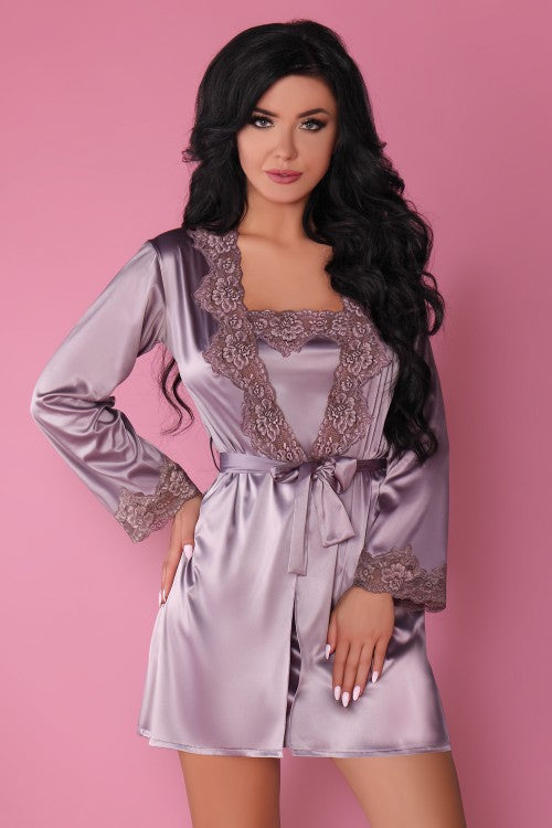 Jacqueline Lavander Shirt, Dressing Gown And Panty Set - EVOLESCENT