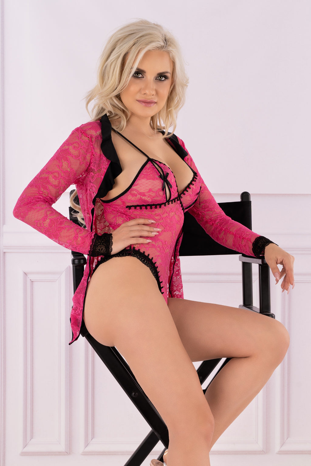 Miloviss Pink Lace Bodysuit With Black Inserts At The Groin - EVOLESCENT