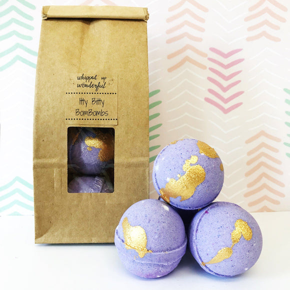 Whipped Up Wonderful - Lavender Honey Itty Bitty BomBombs - Mini Bath Bomb - 5 Pcs