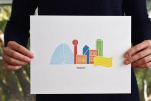 Wandering Paper Co. Dallas Skyline Block Print