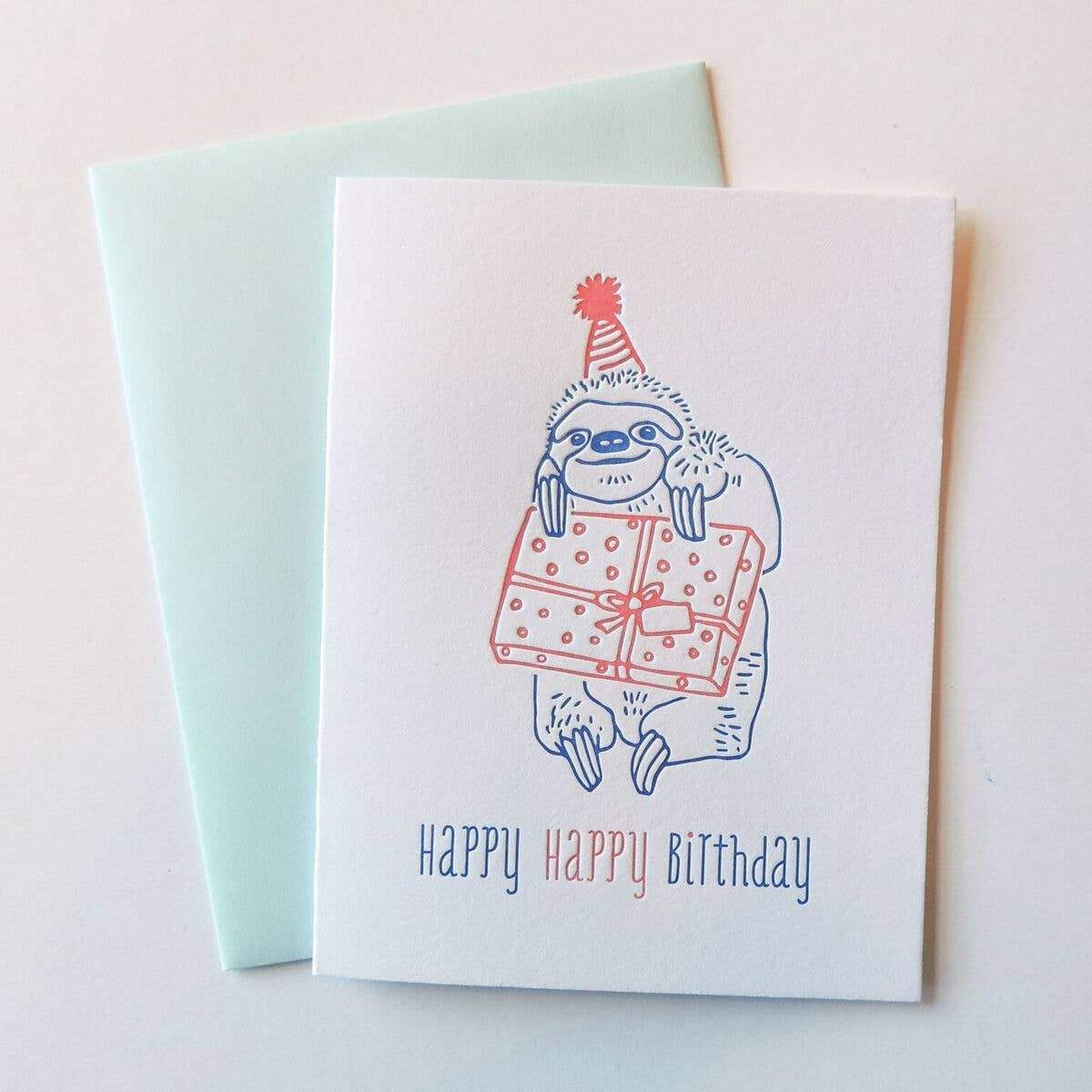Harken Press - Happy Sloth Birthday Card