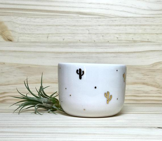 Lemonglaze Porcelain Bowl Gold Cactus $45