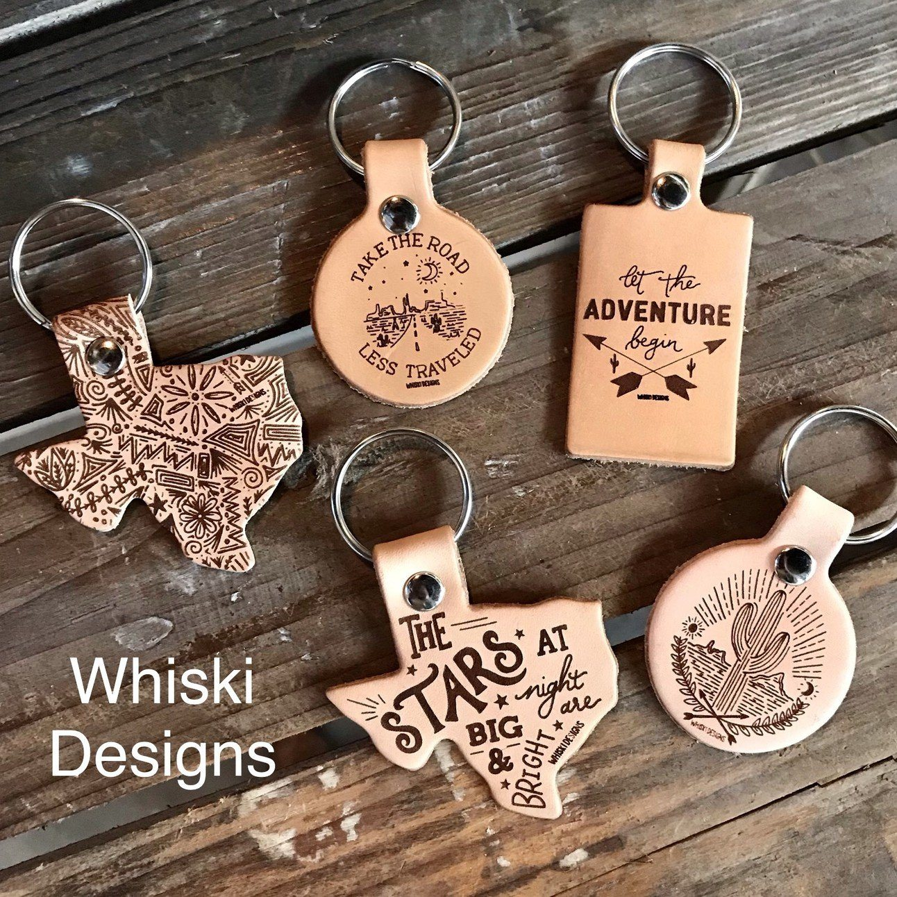 Whiski Designs Leather Keychains
