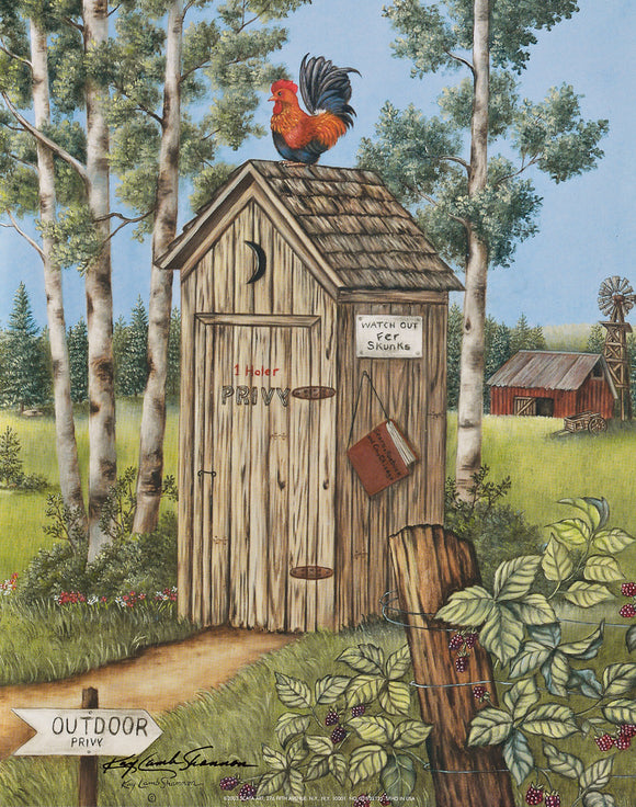 Rooster Outhouse - Original Oil