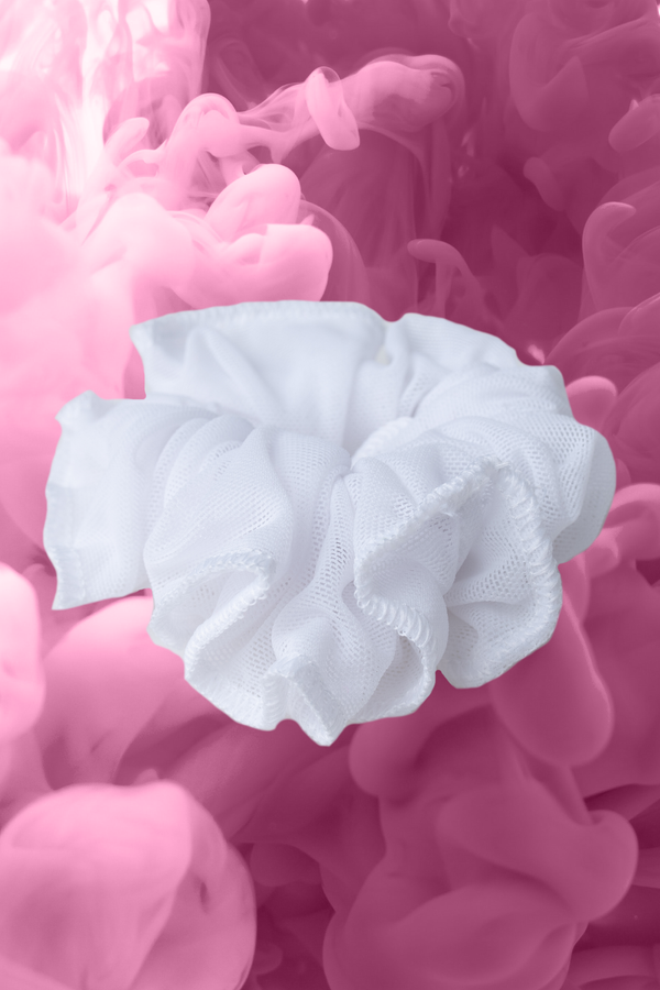 Elite White Scrunchie