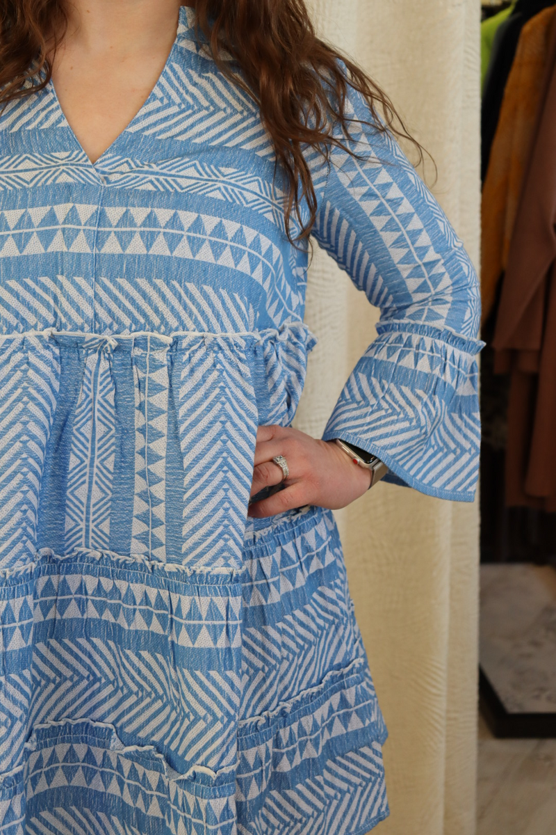 Blue Summer Preppy Cotton Dress