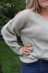 Waffle Knit Wide V-Neck Cozy Sweater