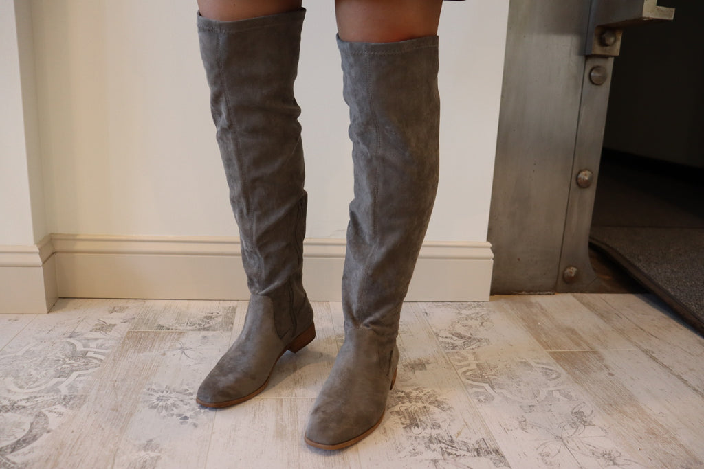Folklore Gray Knee High Suede Boots