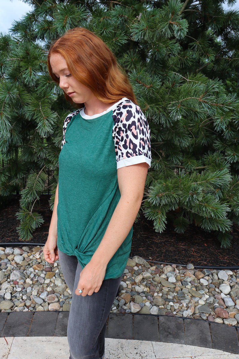 Cheetah Sisters Twist Front Knot Top