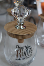 Bridal Wine Glass with Diamond Wine Cork Saver