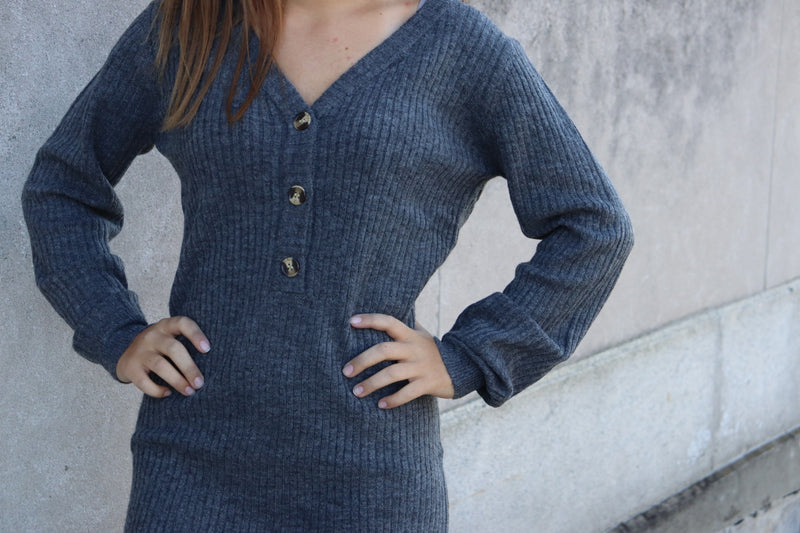 Charcoal Button Front Ribbed Knit Dress