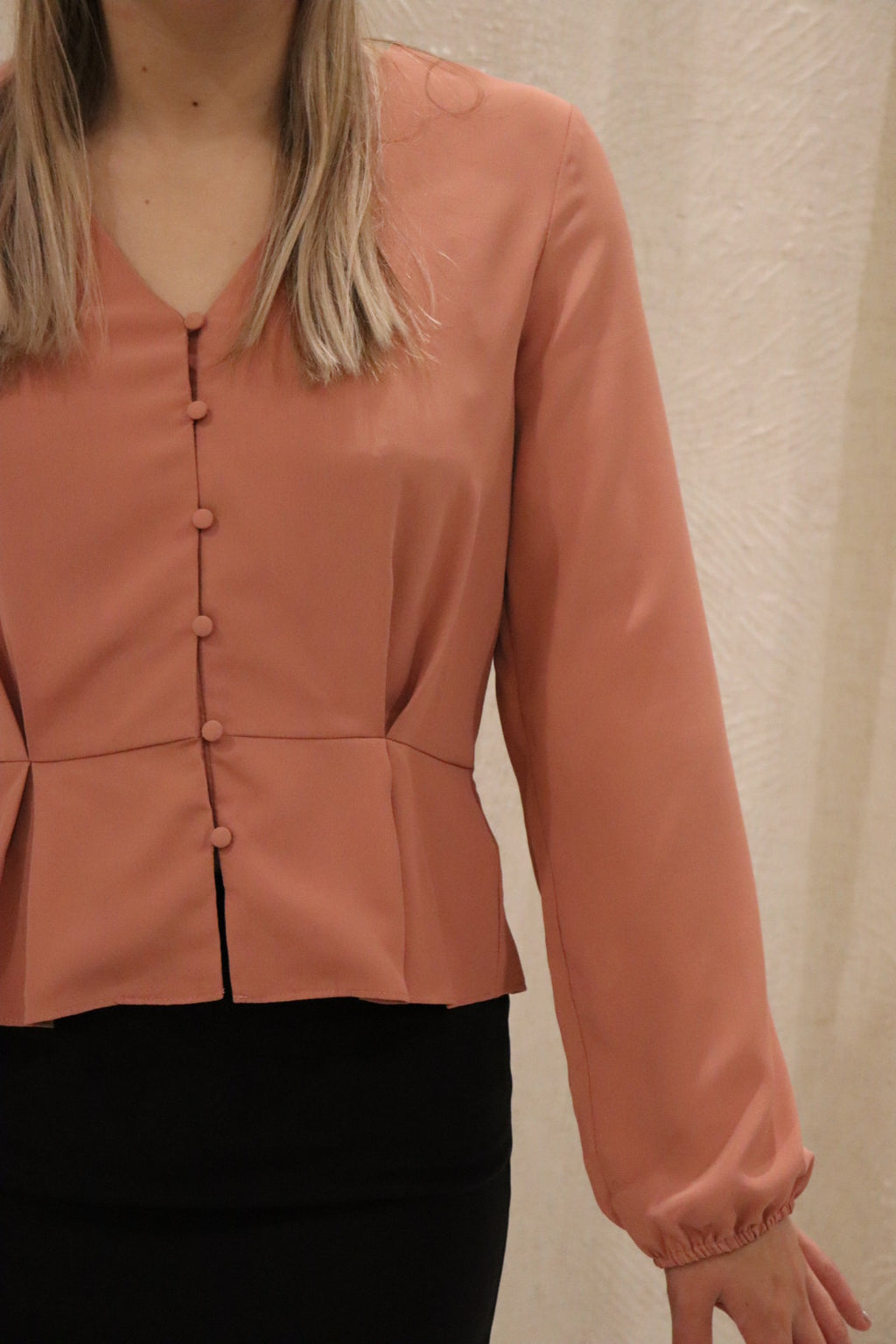 Classic Button Up Contoured Blouse Top