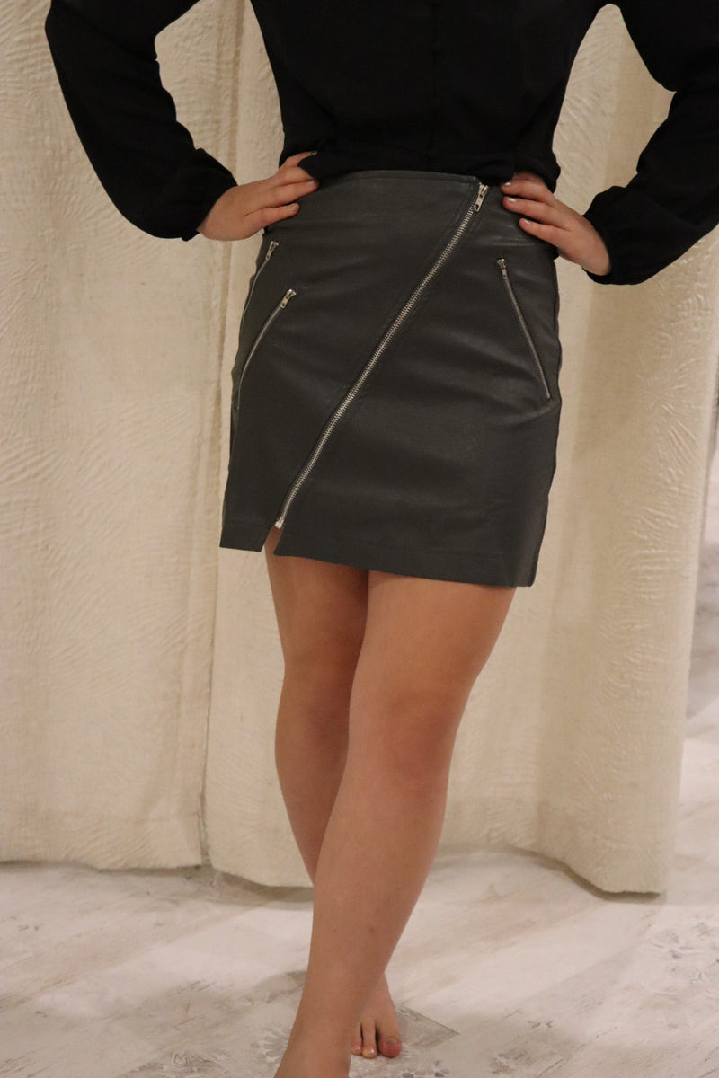 Opal Faux Leather Skirt
