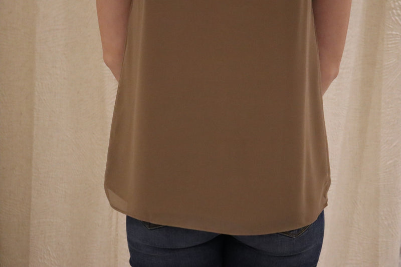 Twist Front Neck Tie Blouse