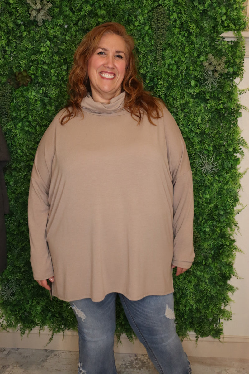 Cowl Neck Knit Plus Top