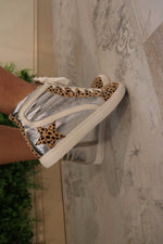 Cheetah Print Silver Star High Top Sneakers