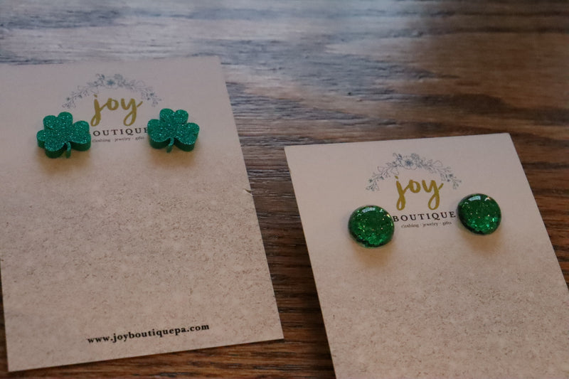 Emerald Green St. Patrick's Day Stud Earrings