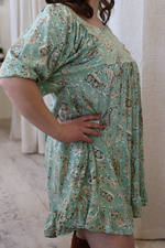 Mint Sage Paisley Dress