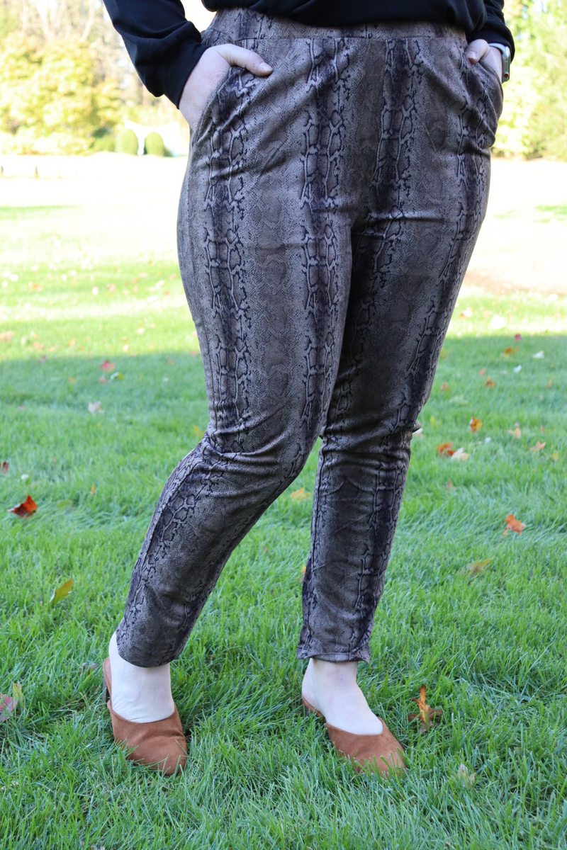 Date Night Reptile Suede Leggings