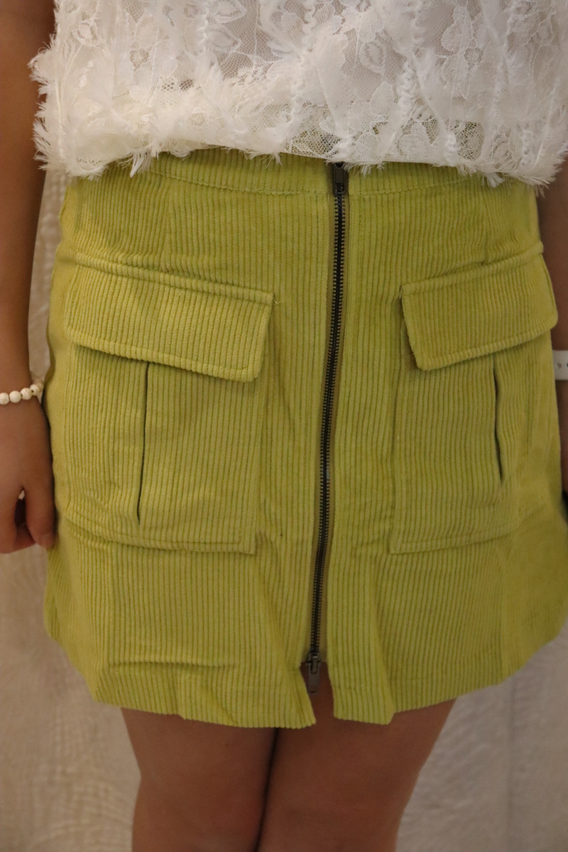 Lime Corduroy Pocket Skirt