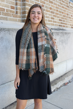 Fall Orange & Hunter Green Plaid Scarf