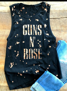 Bleached Tank Top Guns and Rose
