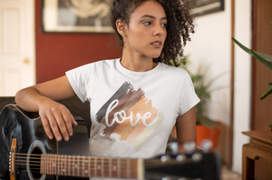 Watercolor, Brushstroke Love Sublimated T-Shirt, Skin Tones