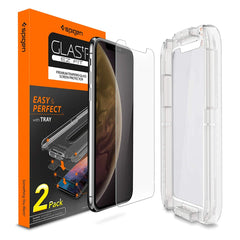 SPIGEN iPhone XR Glass Screen Protector Glas.tR Slim EZ Fit Full Coverage (2 Pack) Black 064GL25166